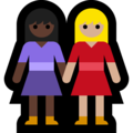 Women Holding Hands: Dark Skin Tone, Medium-Light Skin Tone on Microsoft Windows 10 May 2019 Update