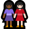 Women Holding Hands: Medium-Dark Skin Tone, Light Skin Tone on Microsoft Windows 10 May 2019 Update