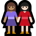 Women Holding Hands: Medium Skin Tone, Light Skin Tone on Microsoft Windows 10 May 2019 Update