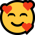 Smiling Face with Hearts on Microsoft Windows 11