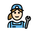 Woman Mechanic: Light Skin Tone on OpenMoji 12.0
