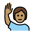Person Raising Hand: Medium Skin Tone on OpenMoji 12.0