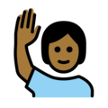 Person Raising Hand: Medium-Dark Skin Tone on OpenMoji 12.0