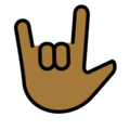 Love-You Gesture: Medium-Dark Skin Tone on OpenMoji 12.0