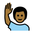 Man Raising Hand: Medium-Dark Skin Tone on OpenMoji 12.0