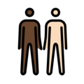 Men Holding Hands: Dark Skin Tone, Light Skin Tone on OpenMoji 12.0