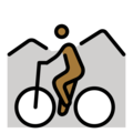 Person Mountain Biking: Medium-Dark Skin Tone on OpenMoji 12.0