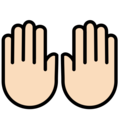 Raising Hands: Light Skin Tone on OpenMoji 12.0