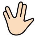 Vulcan Salute: Light Skin Tone on OpenMoji 12.0
