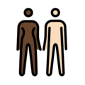 Woman and Man Holding Hands: Dark Skin Tone, Light Skin Tone on OpenMoji 12.0