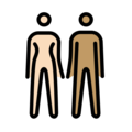 Woman and Man Holding Hands: Light Skin Tone, Medium Skin Tone on OpenMoji 12.0