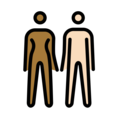 Woman and Man Holding Hands: Medium-Dark Skin Tone, Light Skin Tone on OpenMoji 12.0