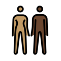 Woman and Man Holding Hands: Medium Skin Tone, Dark Skin Tone on OpenMoji 12.0
