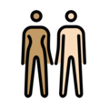 Woman and Man Holding Hands: Medium Skin Tone, Light Skin Tone on OpenMoji 12.0