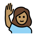 Woman Raising Hand: Medium Skin Tone on OpenMoji 12.0