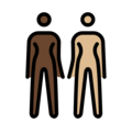 Women Holding Hands: Dark Skin Tone, Medium-Light Skin Tone on OpenMoji 12.0