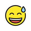 Grinning Face with Sweat on OpenMoji 12.3