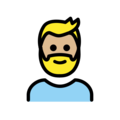 Person: Medium-Light Skin Tone, Beard on OpenMoji 12.3