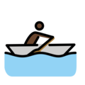 Man Rowing Boat: Dark Skin Tone on OpenMoji 12.3