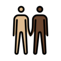 Men Holding Hands: Medium-Light Skin Tone, Dark Skin Tone on OpenMoji 12.3