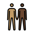 Men Holding Hands: Medium Skin Tone, Dark Skin Tone on OpenMoji 12.3