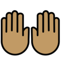 Raising Hands: Medium Skin Tone on OpenMoji 12.3