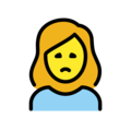 Woman Frowning on OpenMoji 12.3