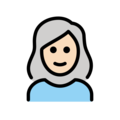 Woman: Light Skin Tone, White Hair on OpenMoji 12.3