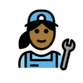 Woman Mechanic: Medium-Dark Skin Tone on OpenMoji 12.3
