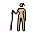 Woman with White Cane: Medium-Light Skin Tone on OpenMoji 12.3