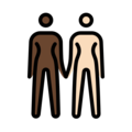 Women Holding Hands: Dark Skin Tone, Light Skin Tone on OpenMoji 12.3