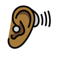 Ear with Hearing Aid: Medium-Dark Skin Tone on OpenMoji 13.0