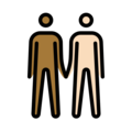 Men Holding Hands: Medium-Dark Skin Tone, Light Skin Tone on OpenMoji 13.0