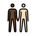 People Holding Hands: Dark Skin Tone, Light Skin Tone on OpenMoji 13.0