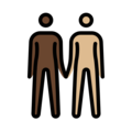 People Holding Hands: Dark Skin Tone, Medium-Light Skin Tone on OpenMoji 13.0