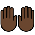 Raising Hands: Dark Skin Tone on OpenMoji 13.0
