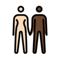 Woman and Man Holding Hands: Light Skin Tone, Dark Skin Tone on OpenMoji 13.0