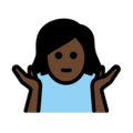 Woman Shrugging: Dark Skin Tone on OpenMoji 13.0