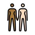 Women Holding Hands: Medium-Dark Skin Tone, Light Skin Tone on OpenMoji 13.0