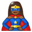 Woman Superhero: Medium-Dark Skin Tone on Samsung One UI 1.0
