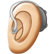 Ear With Hearing Aid: Light Skin Tone on Samsung One UI 1.5