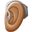 Ear with Hearing Aid: Medium Skin Tone on Samsung One UI 1.5