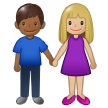 Woman and Man Holding Hands: Medium-Light Skin Tone, Medium-Dark Skin Tone on Samsung One UI 1.5