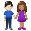 Woman and Man Holding Hands: Medium Skin Tone, Light Skin Tone on Samsung One UI 1.5