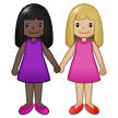 Women Holding Hands: Dark Skin Tone, Medium-Light Skin Tone on Samsung One UI 1.5