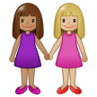 Women Holding Hands: Medium Skin Tone, Medium-Light Skin Tone on Samsung One UI 1.5