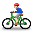 Man Biking: Light Skin Tone on Samsung One UI 2.5