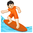 Person Surfing: Light Skin Tone on Samsung One UI 2.5