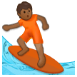 Person Surfing: Medium-Dark Skin Tone on Samsung One UI 2.5