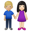 Woman and Man Holding Hands: Light Skin Tone, Medium-Light Skin Tone on Samsung One UI 2.5